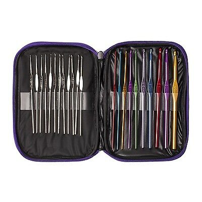 22pcs Multicolor Aluminum Crochet Hooks Knitting Needles Set with Case Includ...