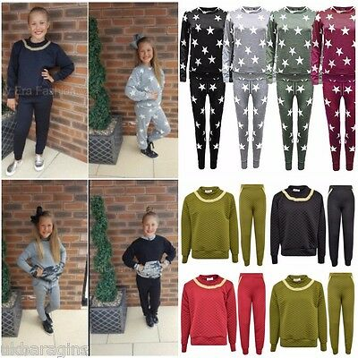 2-13 Years New Girls Camouflage Army Print Tracksuit Kids Loungewear Set Joggers