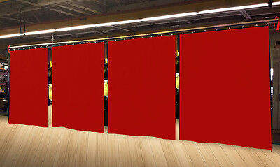 Lot of (4) Economy Red Curtain Panel/Partition 10 H x 4½ W, Non-FR