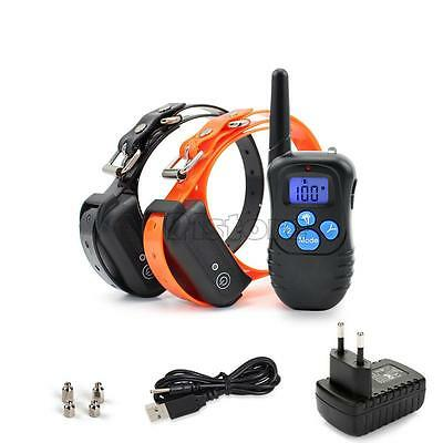 Rechargeable Waterproof Electric Shock Remote Control 2 Dog Training Collar SR1G