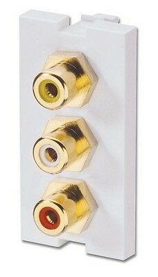Lindy 3 x Phono Snap-in Block [Bianco] NUOVO
