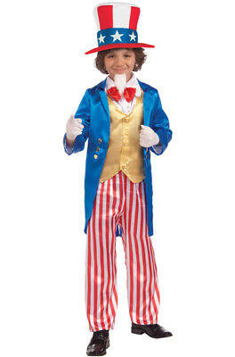 July 4th Independence Day 7//3B Child Uncle Sam Patriotic Deluxe Costume Med/&Lg