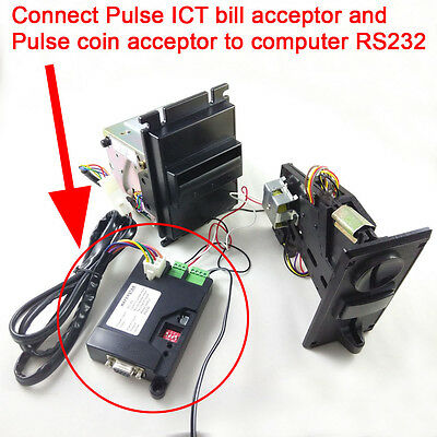 Free Ship Pulse type ICT bill acceptor and Coin acceptor to PC RS232 interface