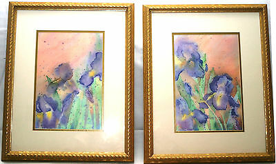 (2) Framed Watercolor Irises by June Marucci