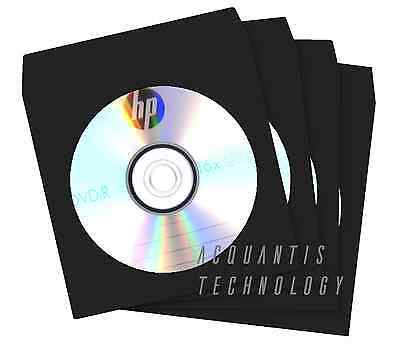 100 BLACK Color CD DVD Paper Sleeves w/ Clear Window & Flap