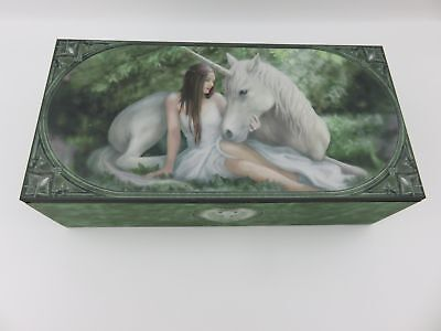 "Anne Stokes ""Pure Heart"" Jewellery Trinket Box with Mirror Fantasy Unicorn"