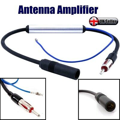12V Deluxe Inline Car Antenna Radio AM & FM Signal Amp Amplifier Booster Wire UK