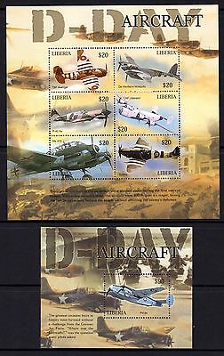Liberia 2006 Aircraft D-Day Sheetlet 6 + M/S MNH