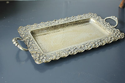 Vintage Silver plate flower tea , drinks tray, serving tray.