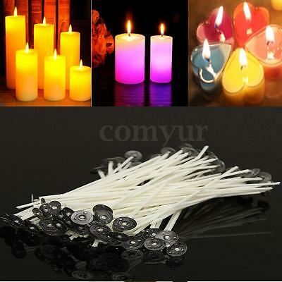 100x White Candle Wicks Pre Waxed With Sustainers Cotton Coreless 12/14/15/20cm