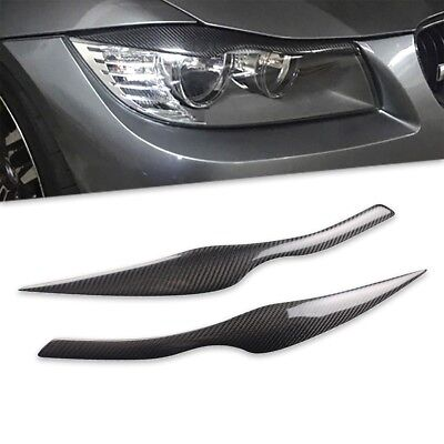 Carbon Fiber Eyebrow Eyelid Eye Lid Headlight Cover for BMW E90 E91 2005 06 2011