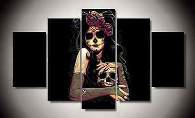 Framed Pictures Canvas Prints Laday Sugar Skull Day of the Dead Mexico Wall Home