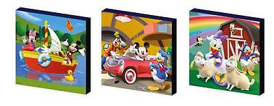 MICKEY MOUSE CLUBHOUSE set c CANVAS ART BLOCKS/ WALL ART PLAQUES/PICTURES