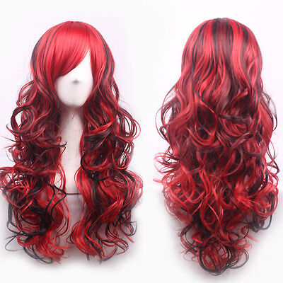 Fashion Sexy Red Black Mix Long Curly Wavy Wigs Women Cosplay Party Hair Wig