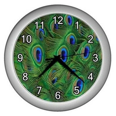 New Peacock Feathers Wall Hanging Clock  Bedroom Office Lounge Work