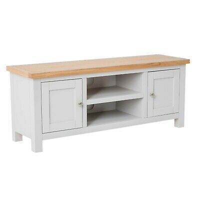 Farrow Painted TV Stand with Cupboards / Large Stone Painted TV Unit / New