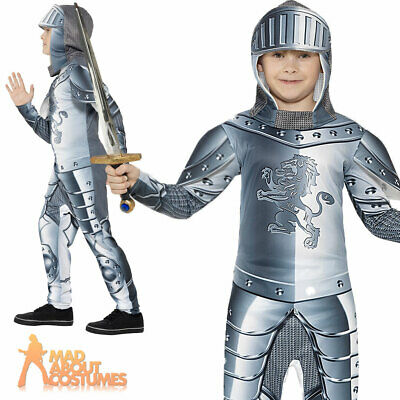 Child Armoured Knight Costume Boys Medieval Crusader Fancy Dress Outfit New