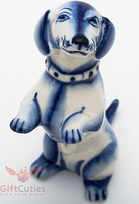 Porcelain DACHSHUND Dog friend Figurine Gzhel colors handmade