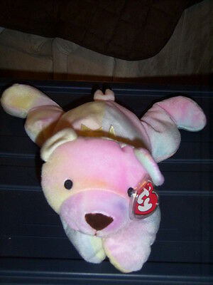 RETIRED TY PILLOW PALS SHERBET THE NEON TIE DYE BEAR MINT with TAGS