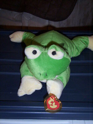 RETIRED TY PILLOW PALS RIBBIT THE FROG MINT with TAGS
