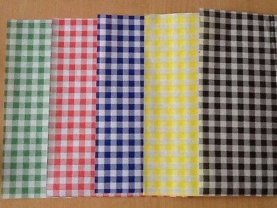 50 Gingham Duplex Greaseproof Paper Mixed Colours Food Wrap Chip Basket Liners