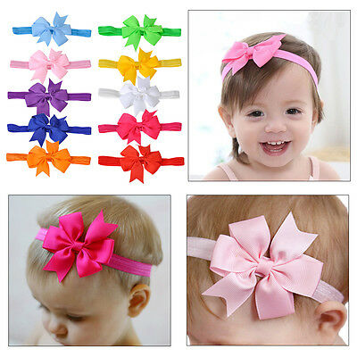 10pcs Soft Elastic Baby Girl Bow HairBand Hair Accessories Ribbon Headband