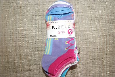 NWT New Girls K Bell no show socks 9 pair cotton blend bright colors