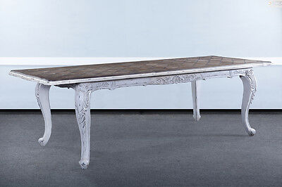 "French Handcarved Distressed White Extension Dining Table 102"" with leaves BG"