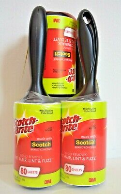 3M Scotch Lint Roller Pet Hair Remover 5 Rolls 80 Sheets Clothing Upholstery