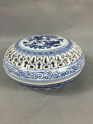 Chinese Blue White hollow dual phoenix bowl w/lid Chinese porcelain bowl