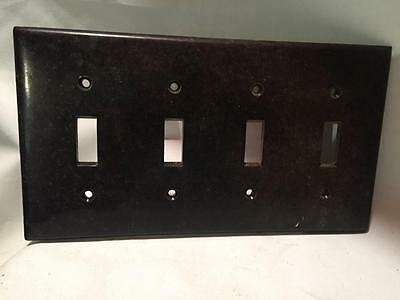 VINTAGE BAKELITE SWITCH 4 LIGHT PLATE' DARK BROWN Cover SA
