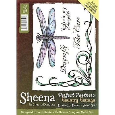 Sheena Perfect Partners Country Cottage Dragonfly Dance A6 Unmounted Rubber Stam