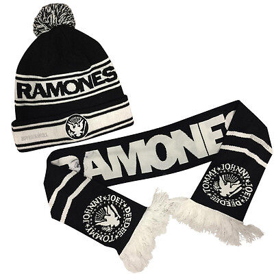 The Ramones Collectors 2015 Gift Set: 5 Ft Logo Seal Scarf and POM Beanie Hat