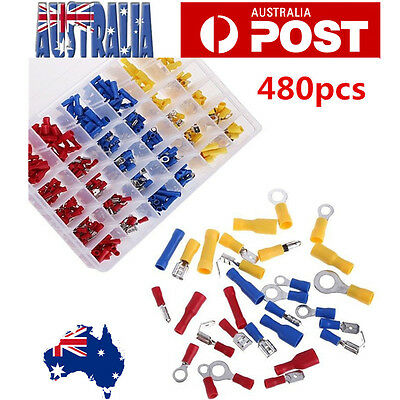 480Pcs Assorted Insulated Electrical Wire Terminal Crimp Connector Spade Kit