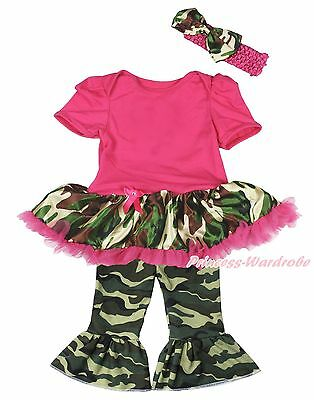 Plain Hot Pink Bodysuit Camouflage Girls Baby Dress Camo Trousers Outfit NB-18M