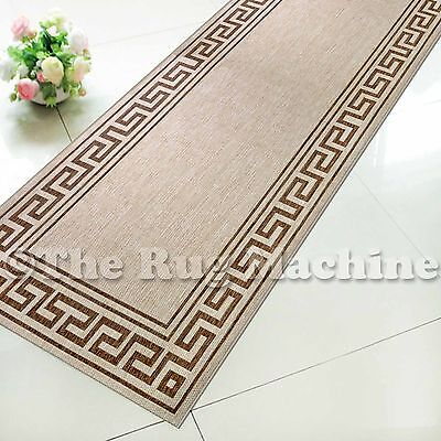 SUMMER INDOOR/OUTDOOR GREEK KEY BEIGE MODERN FLOOR RUG RUNNER 60x230cm **NEW**