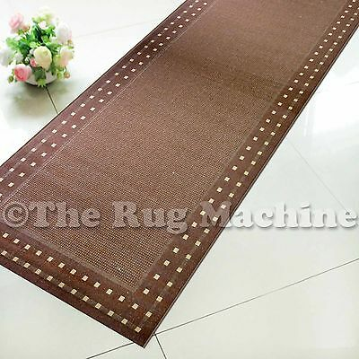 SUMMER INDOOR/OUTDOOR BORDER BROWN MODERN FLOOR RUG RUNNER 60x230cm **NEW**