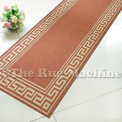 SUMMER INDOOR/OUTDOOR GREEK KEY TERRA MODERN FLOOR RUG RUNNER 80x340cm **NEW**
