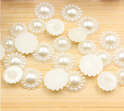 50Flat Back Pearl Flower Beads Scrapbook for Wedding Cards Embellishments12-20mm