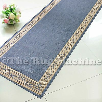SUMMER INDOOR/OUTDOOR SCROLL BLUE MODERN RUG RUNNER 80cm WIDE **ANY LENGTH**