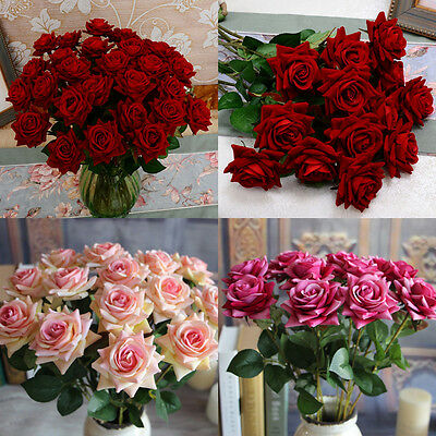 Velvet Rose Fake Silk Flowers Leaf Artificial Home Wedding Decor Bridal Bouquet