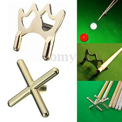 Metal Pool Snooker Billiards Table Cue Stick Brass Cross + Spider Holder Rests
