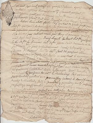 This is an Original French LEGAL DOCUMENT / 15.9.1720  with 2 taxstamps