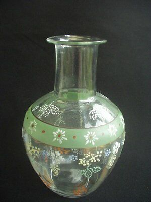 "Vintage Blown Glass Decanter ~Hand Painted ~6.5"" In Height"