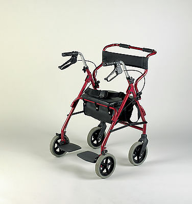 Rollator And Transit Chair Combination - Burgundy 091207307