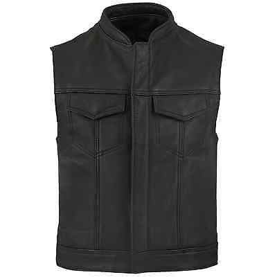 New Motorcycle SONS OF ANORCHY Style A Grade Leather Vest front Zipper/Button
