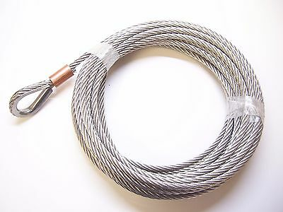 "5/16"" x 65 ft Stainless Steel Winch Cable, SS Thimble & Copper Sleeve Eye"