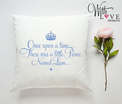 Little Prince New Baby Boy Personalised Custom Made Pillow Cushion Gift Present