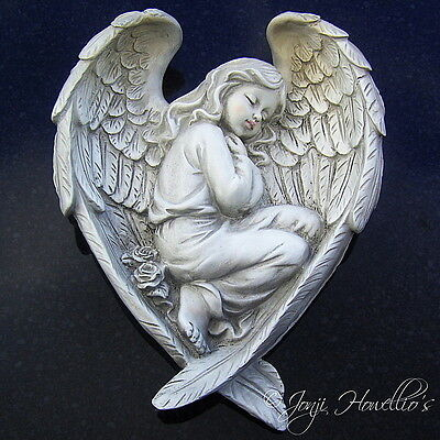 Large Sleeping ANGEL In Wings Wall Plaque MEMORIAL Graveside Decorative Ornament