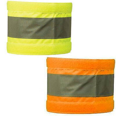 Pair Armbands Reflective Hi Vis Orange & Yellow Bands Pair Wide Safety 5X20""
